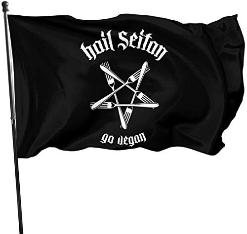 Oaqueen Bandiere, Hail Seitan Go Vegan Logo Decorative Bandieras, Outdoor Artificial Flag for Home, Garden Yard Decorations 3x5 Ft