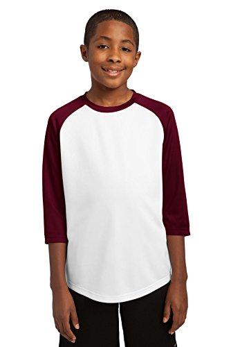 Sport-Tek® Youth PosiCharge® Baseball Jersey. YST205 White/Maroon L