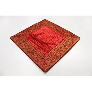Agas Own Indische Kissen 80 x 80 cm Kissenhülle Kissenbezug Orientalischer Bezug Indien (Rot)