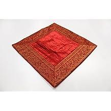 India Cojín 60x 60cm Funda de cojín almohada funda India oriental, rojo, 60 x 60 cm