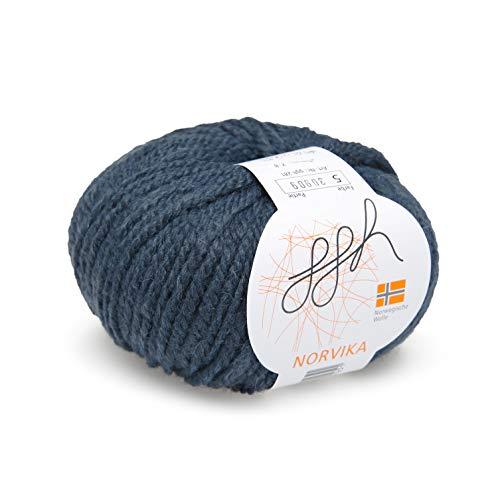 ggh Norvika, Farbe:005 - Dunkelblau, Norwegische Schurwolle Mischung, 50g Wolle als Knäuel, Lauflänge ca.65m, Verbrauch 500g, Nadelstärke 7-8, Wolle zum Stricken und Häkeln -