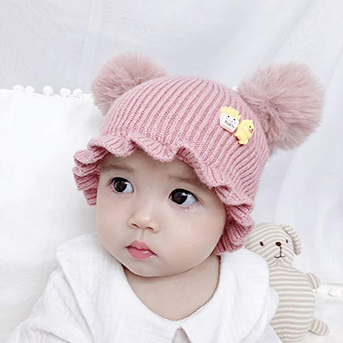 mlpnko Wolle Single Cap Männer und Frauen Baby Baby Kopfbedeckung Baby Mütze rosa Code