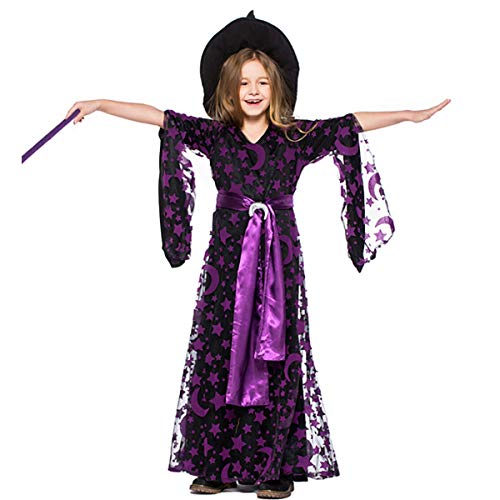 Kostüm Rock Weibliche Stars - W&TT Halloween Girl Purple Star Moon Magic Lange Ärmel Hexen Kleid Eltern-Kind Tragen Hut + Rock + Belt + Moon Accessoires,Girl,L