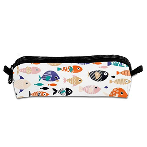 Horizontale Fashion Pouch (All The Fish In The Sea Horizontal Pencil Pouch Bag Stationery Pen Case Makeup Box with Zipper Closure 21 X 5.5 X 5 cm)