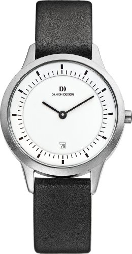 Danish Design Women's Quartz Watch with White Dial Analogue Display and Black Leather Strap DZ120158