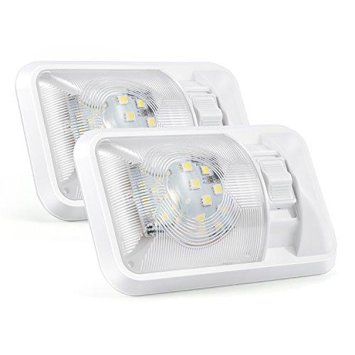 Kohree Plafonnier de Camping-car 12V Lampe LED Ampoule Voiture Lumière Blanche Eclairage Intérieur Pour Véhicule Bateau Avec Interrupteur 24x5050SMD Lot de 2 unités