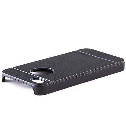 iCues Apple iPhone 4/4S |  Alu Case Gebürstet Schwarz | [Display Schutzfolie Inklusive] CNC Aluminium Metall Metallic Schutzhülle Hülle Cover Schutz Black