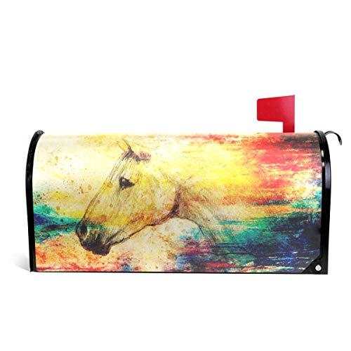 Alaza(mailbox cover) WOOR Briefkastenabdeckung, Vintage-Pferd mit bunten Punkten, magnetisch, Standardgröße, 45,7 x 52,1 cm 25.5x20.8 inch Oversized Multi