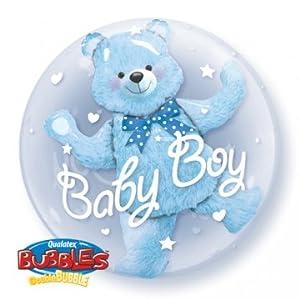Qualatex 29486 - Globo de látex con diseño de oso de bebé, color azul, 61 cm