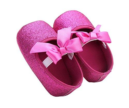 ACMEDE Babyschuhe Taufschuhe weiche Sohle Schuhe für Baby Mädchen Rosa 11cm Rot