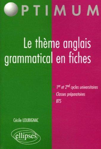 Le thème anglais grammatical en fiches