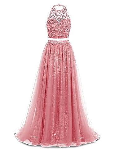 Ysmo Frauen 2 Stück Perlen Halfter Abendkleid Lange Tüll Sequin Abendkleid
