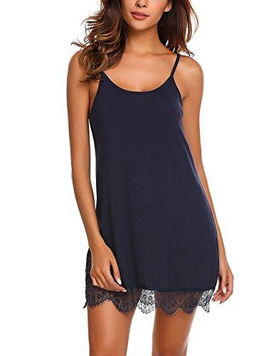 Monrolove Femmes Lingerie Sexy Nuisette Chemise de Nuit Dentelle Slip Dress Bleu foncé S
