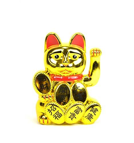 Artisanal Maneki Neko/Gato japonés Dorado Suerte