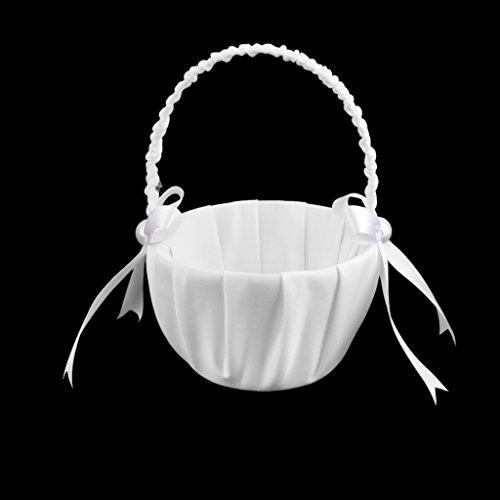 Prettyia Hochzeit Blumenkorb, Vintage Bowknot Satin Blumenmädchen Korb für Hochzeit Party Dekoration Weiß