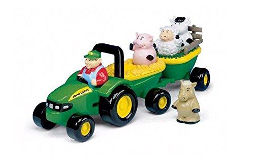 John Deere TOMY Heuwagen mit tierischen Geräuschen – Spielzeuganhänger mit Bauer und 4 Tieren zum Spielen für drinnen und draußen – Für Kinder ab 18 Monate