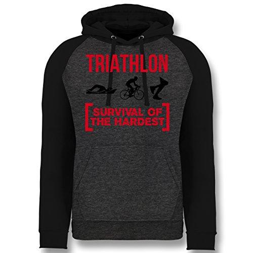Sonstige Sportarten - Triathlon - Survival of The Hardest - M - Anthrazit meliert/Schwarz - JH009 - Baseball Hoodie (Triathlon Hoodie)
