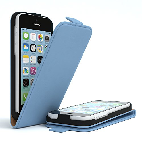 Apple iPhone 5C, EAZY CASE Premium Flip Case Handyhülle Schutzhülle als Klapphülle, Wallet Cover, Etui, Smartphone Tasche in Dunkelblau Hellblau