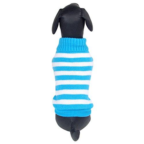 Yuncai Niedlich Streifen Haustier Hund Katze Strickpullover Warm Pullover Bekleidung Blau M