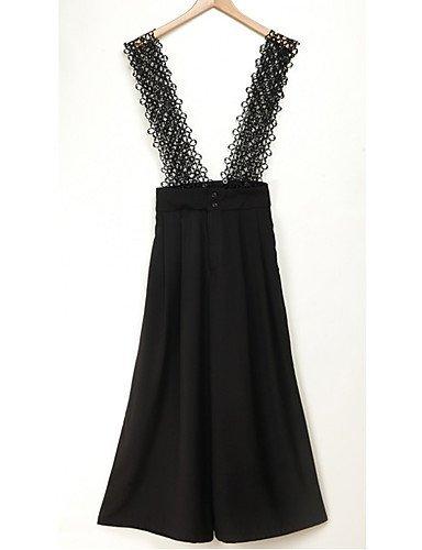 GSP-Combinaisons Aux femmes Sans Manches Décontracté / Soirée / Grandes Tailles Polyester Moyen Micro-élastique black-m