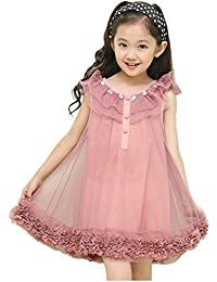 TOOGOO(R) Girls Kids Party Princess Tutu Edge Lace Sleeveless Dress Floral Dress 110CM