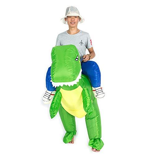 Grüne Kostüm Dinosaurier - Aufblasbar Fahrer Dinosaurier Tier Cosplay Kostüme Grün Drachen Komisch Passen Halloween Weihnachten Geschenk