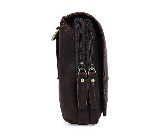 Genda 2Archer Flapover Cuero Doble Cremallera Bolsa del Teléfono Cinturón del Bolso