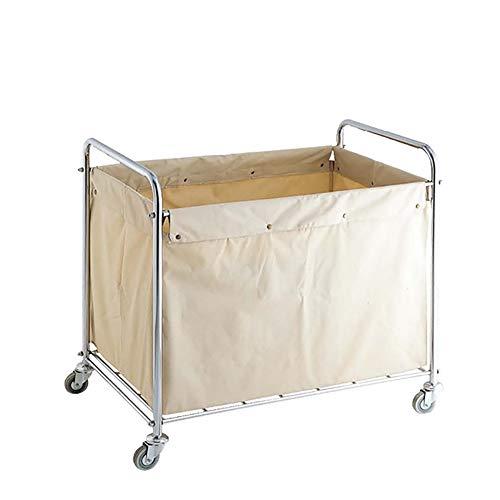 Carrello della lavanderia - bxf auto in lino in acciaio inossidabile per le camere degli ospiti, carrelli di servizio spessi su ruote con borse rimovibili