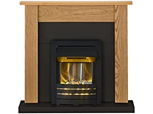 Adam Southwold Fireplace Suite in Oak and Black with Helios Electric Fire in Black, 43 Inches