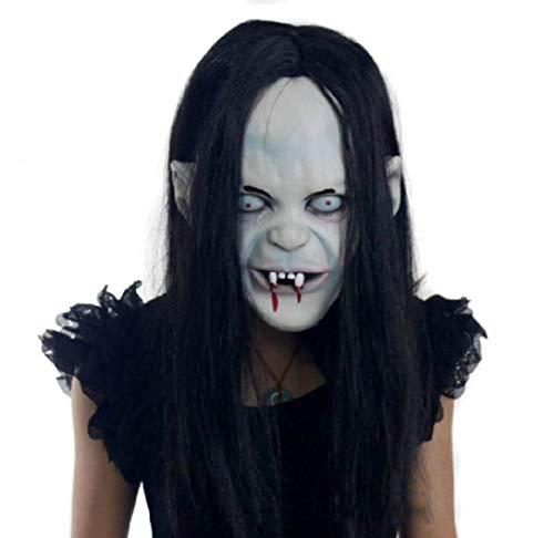 Fanfan Scary Vampire Maske Mit Hair SIXCUP Erwachsenen Blutigen Horror Off Halloween Kostüm Maske Zombie Verfall Blaue Zombie-Latex-Maske (Weiß)