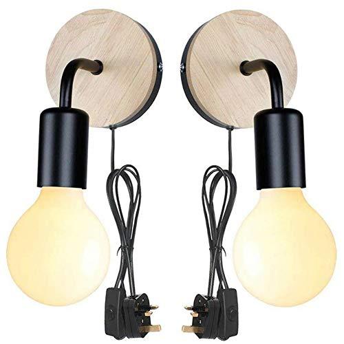 Aplique de Pared Moderno Enchufable Para Interiores Con Interruptor, Lámpara De Pared Ajustable Junto...