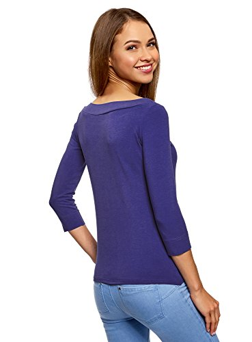 oodji Collection Damen T-Shirt mit 3/4-Arm Blau (7500N)