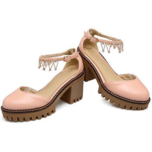 COOLCEPT Damen Sweet Knochelriemchen Sandalen Blockabsatz Plateau Geschlossene Schuhe Gr Rosa