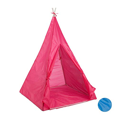 Relaxdays Tipi Spielzelt, Drinnen & Draußen, Wigwam mit Boden, für Kinder ab 3 Jahren, Kinderzelt, 100 x 100 cm, pink