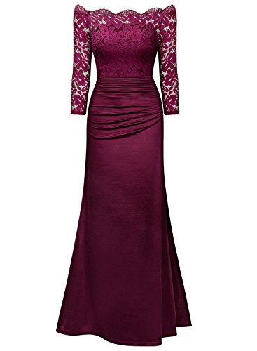 MIUSOL Vintage Donna Pizzo Vestito Lunge Abito Da Cerimonia Rosso