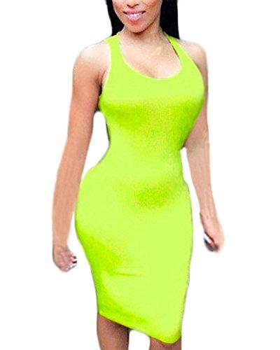 ZANZEA Femme Sexy Eté Mini Robe de Cocktail Gilet Sans Manches Dos Nu Crayon Bodycon Dress Jaune Fluorure