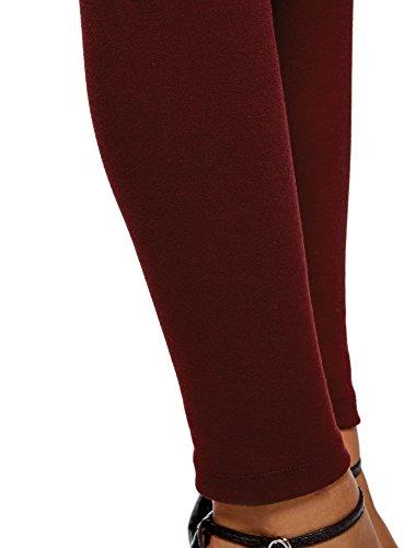 oodji Collection Damen Leggings mit Breitem Elastischem Bund Rot (4900N)
