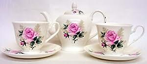 Majestic Rose de Thé pour deux ensemble à thé en porcelaine fine décorée à la main au Royaume-Uni roses 1théière 2tasses et 2soucoupes de livraison gratuite au Royaume-Uni