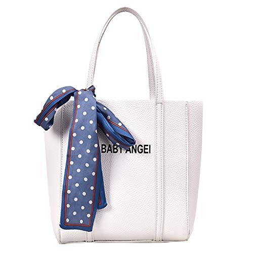 Scenxion Damen Retro-Leder-Handtaschen, Retro-Vintage-Messenger-Tasche, mit Bändern, Brief-Schultertasche, einfarbig, Handtasche mit Spitze, Weiß - weiß - Größe: Einheitsgröße (Faux Leder Orchid)