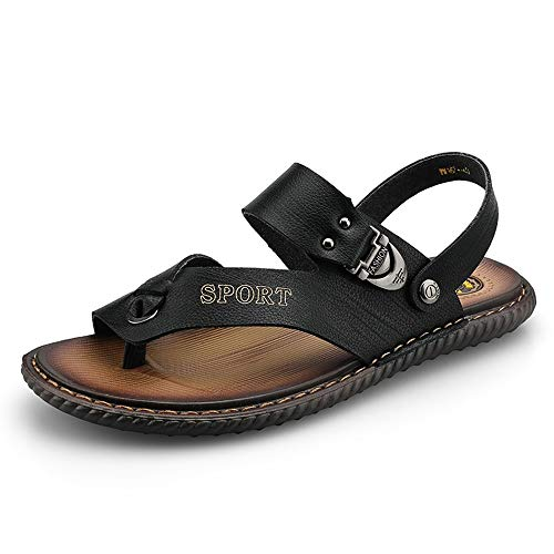 Apragaz Moda Casual da Uomo Sandali Stile Semplice Pantofola in Pelle Microfibra Pantofole Antiscivolo Morbide per Esterno (Color : Nero, Dimensione : 40 EU)