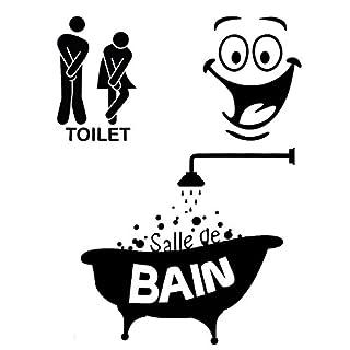 Foonii 3 PCS Autocollant Mural, Toilette/salle de bain/Baignoire Porte Autocollant Stickers Muraux, Créatif Imperméable Amovible Décorations Intérieure Stickers (noir)