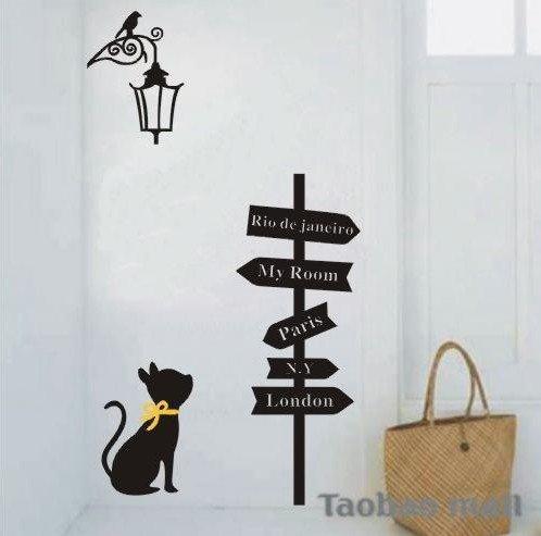 Vinilo decorativo pegatina pared, cristal, puerta (Varios colores a elegir)- senal de camino y gato