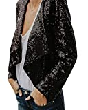 Damen Kurzmantel Frühling Herbst Fashion Pailletten Glitzer Party Stil Slim Fit Langarm Blazer Vintage Elegante Cocktail Party Jacke Outerwear Mädchen (Color : Schwarz, Size : 2XL/Bust112)