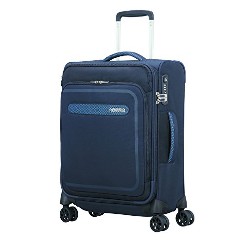 American Tourister Airbeat - Spinner 55/20 Expandable Equipaje de mano, 55 cm, 43 liters, Azul (True Navy)