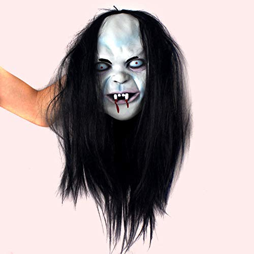 orror Hexe Maske, Curse Scorpion Geistermaske Horror Hood Maske Brünette Zombie Maske Cosplay The Grudge Halloween Maske Ghost Fancy Party Kostüm Scary Dress Requisiten ()