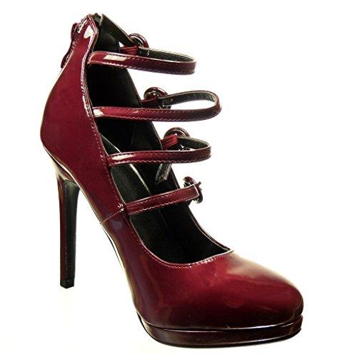 Angkorly - damen Schuhe Pumpe - Stiletto - Offen - String Tanga - Multi-Zaum - große Tasten Stiletto high heel 11 CM Burgunderrot