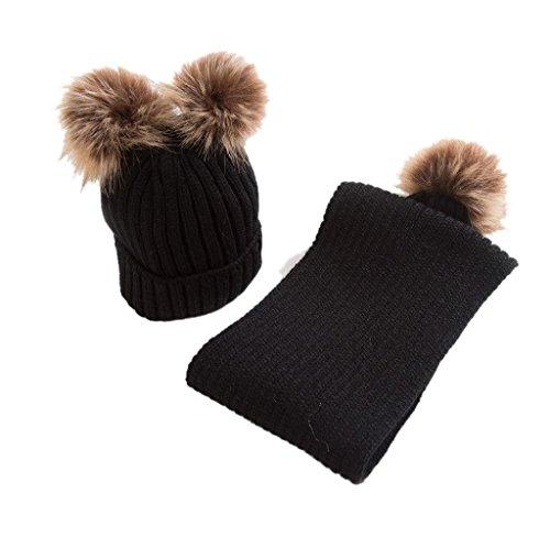 Covermason Winter Kinder Baby Jungen Mädchen Strickmütze Hut Cap Mützen Mit Schal (Schwarz A)