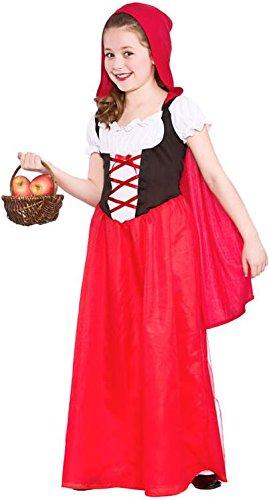 GIRLS LONGER LENGTH RED RIDING HOOD FANCY DRESS -