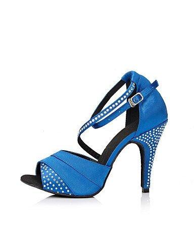 ShangYi Chaussures de danse ( Noir / Bleu / Violet ) - Non Personnalisables - Talon Aiguille - Cuir / Cuir Verni - Latine Blue