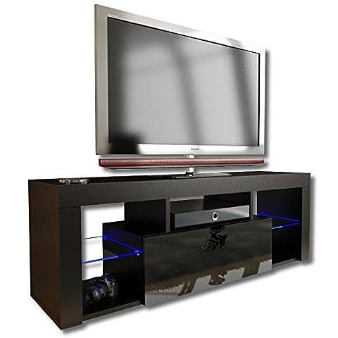 Nouveau. Superbe unité de support TV cabinet 130cm + Noir ou blanc + Mat avec Acrylique brillant Porte + flottant/debout + LED avec
